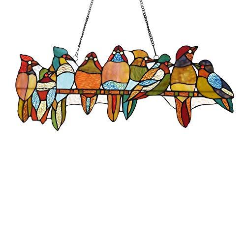 141-piece Stained Glass Birds Window Suncatcher Multi Color Casual Irregular Animals Metal Includes Hardware