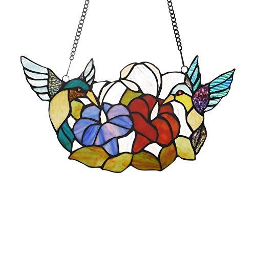 72-Piece Stained Glass BirdsFlowers Window Suncatcher Multi Color Casual Irregular Animals Flowers Metal Includes Hardware