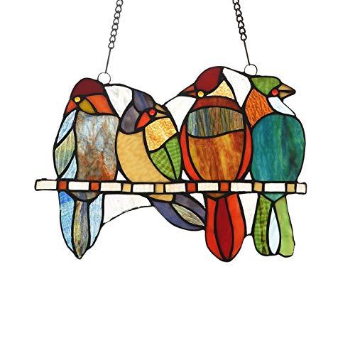 73-Piece Stained Glass Birds Window Suncatcher Multi Color Casual Irregular Animals Metal Includes Hardware