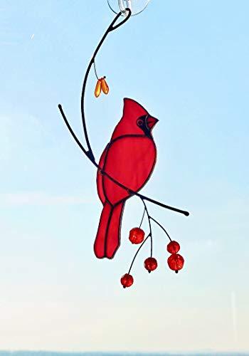 Angel Dreams Red Cardinal Bird Suncather Stained Glass Bird Lover Custom Gift Window hangings
