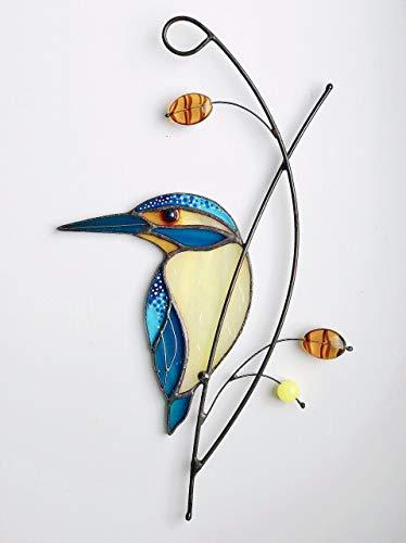 Kingfisher Bird Suncather Tiffany Style Stained Glass Bird Lover Friend mom Father Partner Housewarming Custom Gift Window hangings
