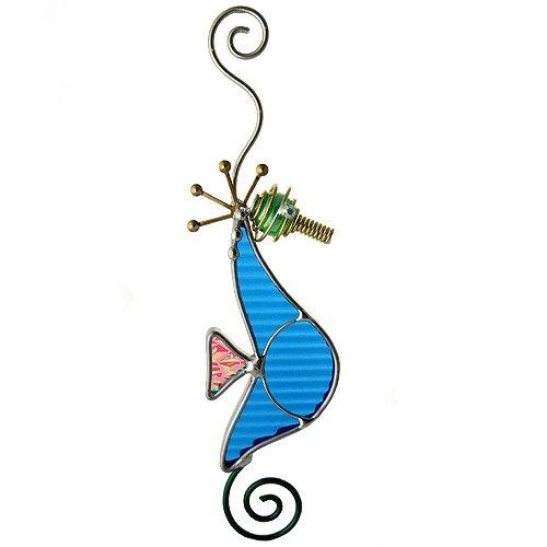 Blue Seahorse Art Glass Sun-Catcher