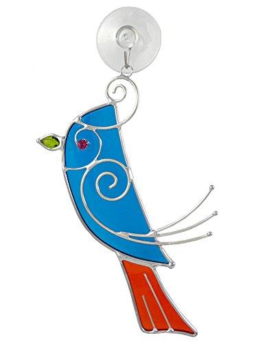 Blue Songbird Art Glass Sun-Catcher