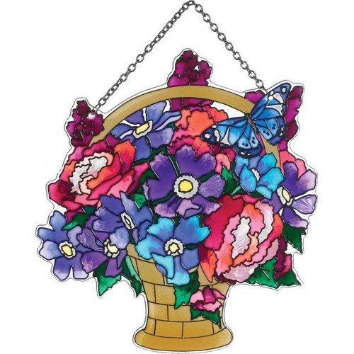 Flower Basket Glass Sun Catcher