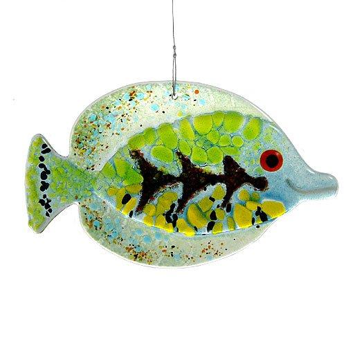 Green Fish Fused Glass Sun Catcher Handmade In Usa