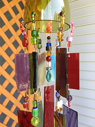 Rustic Garden Art Wind Chime Stained Glass Sun Catcher Up-cycled Wine Bottle