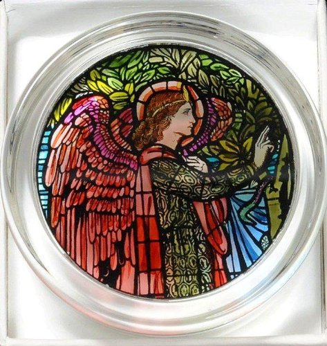 Decorative Hand Painted Stained Glass Paperweight in an Angel Gabriel Design