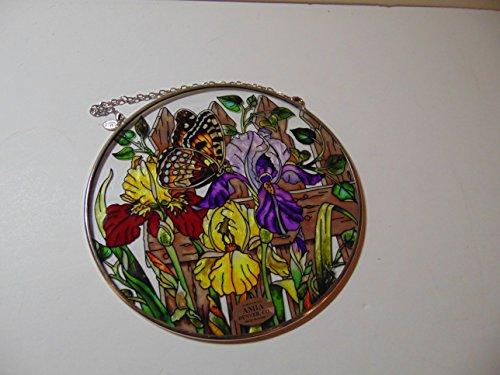 Amia Medium Round Sun catcher Butterfly Iris Stained Glass Window Art