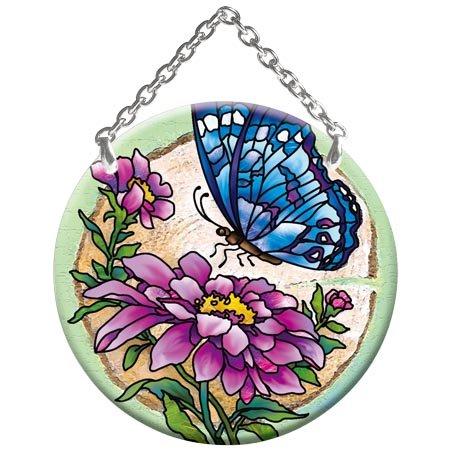 Butterfly Flower Stained Glass Suncatcher SC249R
