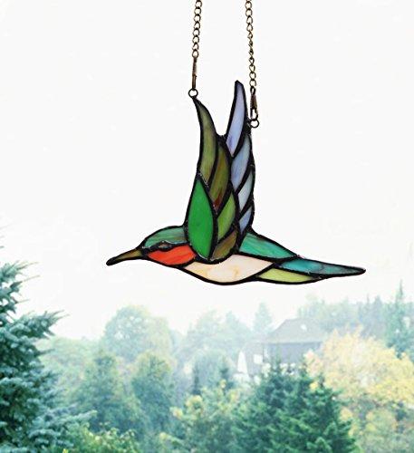 Makenier Tiffany Style Stained Glass Humming Bird Window Hanging Sun Catcher