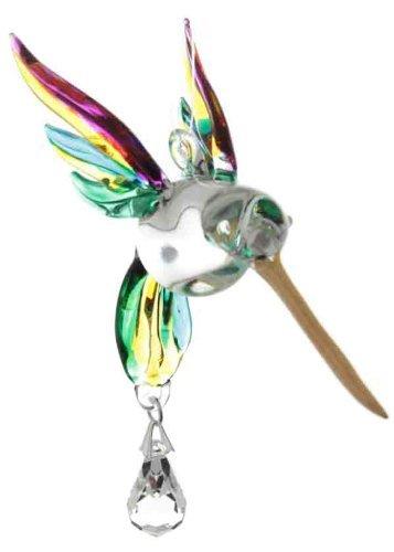 Handmade Fantasy Glass Hummingbird Suncatcher Gift Yellow Pink by Wild Things