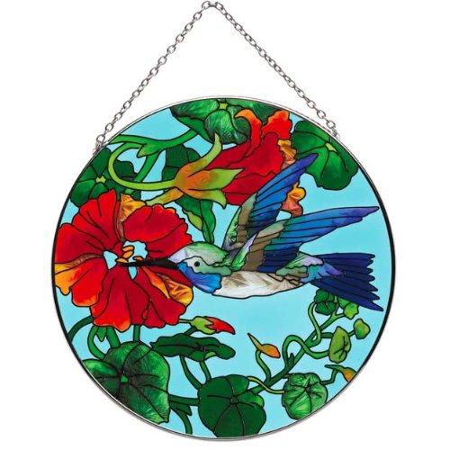Joan Baker Nasturtium and Hummingbird Suncatcher