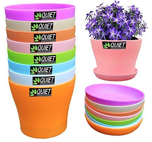 Quiet 8 Colors Cute Mini Colorful Plastic Flower Pots Planters With Saucersseedlings Flowerampseeds Germination