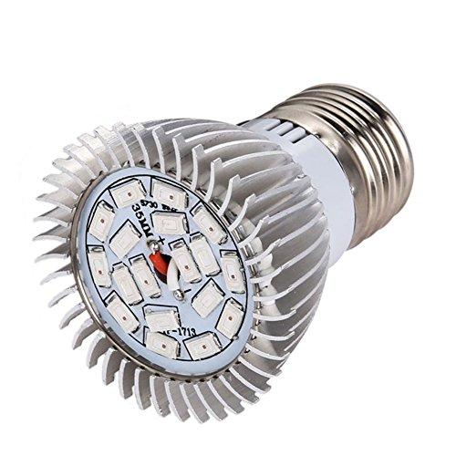 Fenta 18W Full Spectrum Grow LED Light Indoor Plants Flower Veg Lamp Bulb E27E14GU10