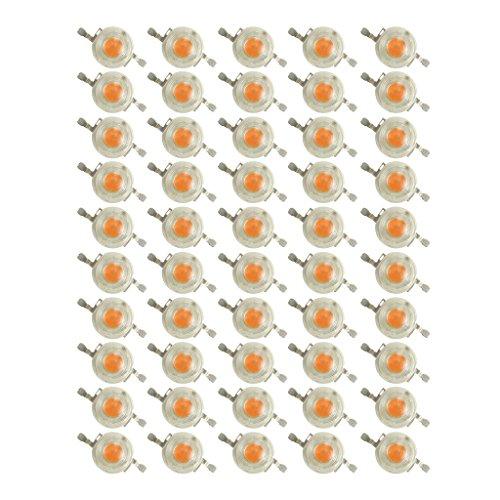 Prodeli 3W Full SpectrumWavelength 400-840nm SMD LED Grow Chip for Indoor Plant Flower and Veg Growing Pack of 50