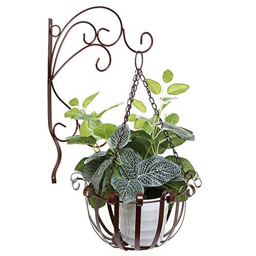 Brown Indoor Outdoor Garden Metal Flower Planter Hanging Basket W Wall Mounted Scrollwork Design Hooks