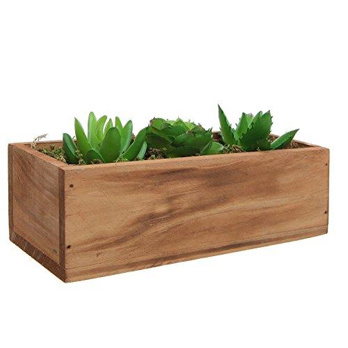 3 Faux Succulent Plants Moss Decorative Windowsill Wood Plant Container Box