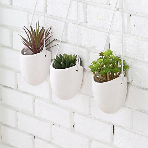 MyGift Modern Ceramic Hanging Planters Succulent Plant Pots Set of 3 White