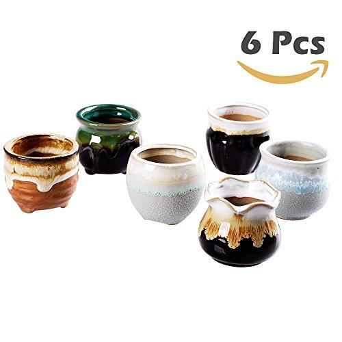 6 Pcs In Set 26 inch Mini Ceramic small succulent Planter Pot Serial Cactus Planter Pot Flower Pot Container Planter