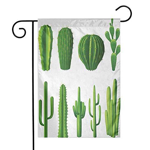 EMODFJCXZ Durable Garden Flag Cactus Print Cartoon Style Image Hot Mexican Desert Plant Cactus Types with Spikes Image Art Primitive Garden Decorations Green