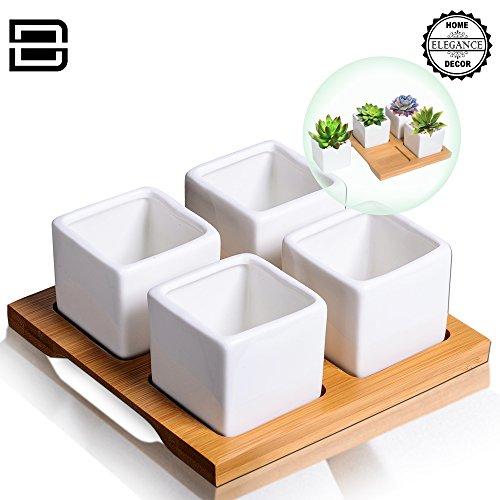 4 Mini Ceramic Succulent Planter White Square Pot Box Set W Holes - Best For Plant Succulentsamp Cactus Flower