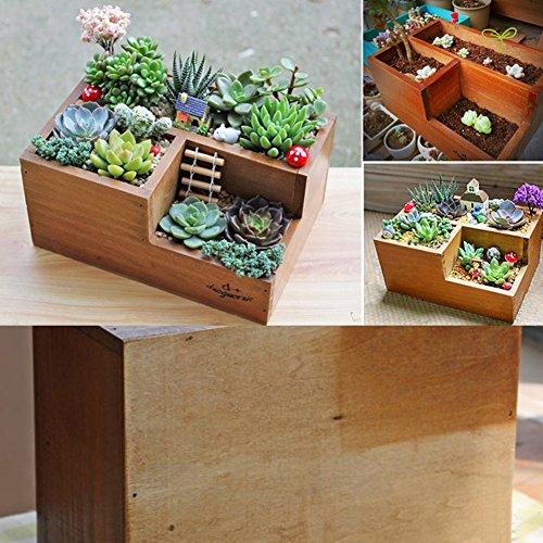 Easydeal Wooden Garden Window Box Trough Planter Succulent Flower Bed Pot Three gird
