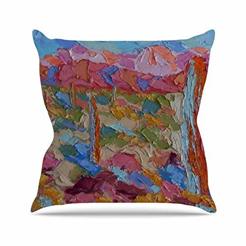 KESS InHouse Jeff Ferst Saguaros in Spring Blue Multicolor Outdoor Throw Pillow 18 x 18