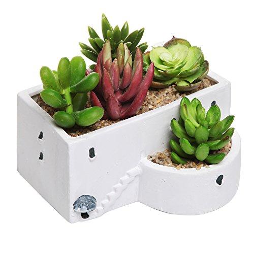 Mediterranean Greek Building Design White Ceramic Novelty Flower Planter  Succulent Plant Pot - Mygift&reg