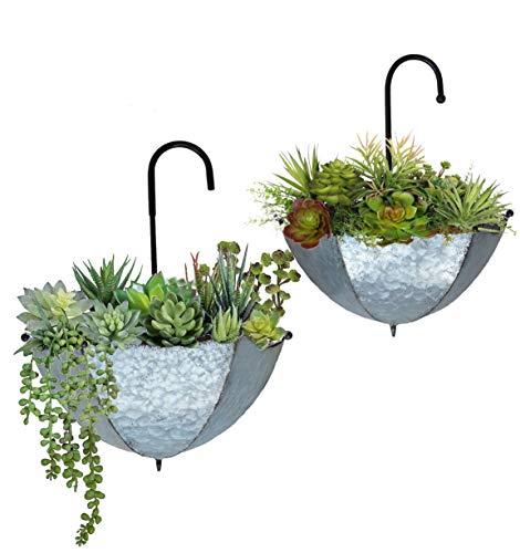 GIFTME 5 Set of 2 Galvanized Metal Umbrella Hanging Wall Planter Flower Holder Indoor or Outdoor Garden Succulent Wall Planter Set