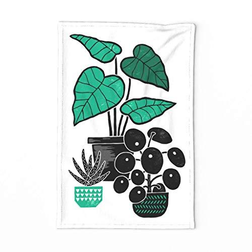 Roostery Spoonflower Tea Towel Botanical Block Print House Plant Houseplant Succulent Linen Cotton