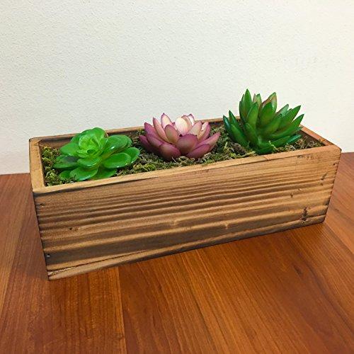 Country Rustic Wood Planter W 3 Faux Succulent Plantsamp Moss  Decorative Windowsill Plant Container Box