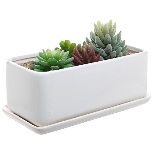 10 Inch Rectangular Modern Minimalist White Ceramic Succulent Planter Pot  Window Box With Saucer