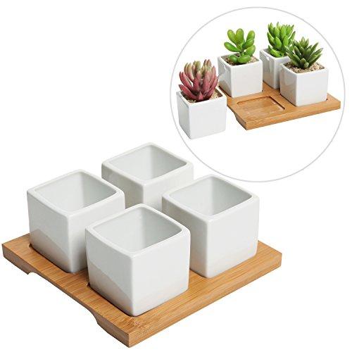 4 Piece Modern White Mini Square Cube Ceramic Succulent Planters  Flower Pots W Bamboo Tray - Mygift&reg