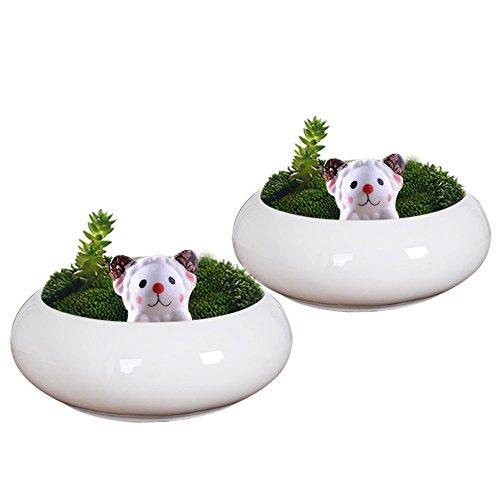GeLive Set of 2 Succulent Plant Pot Tabletop Decorative Sheep Planter White Ceramic Kitty Ornament Animal Flower Pot Decor Vase