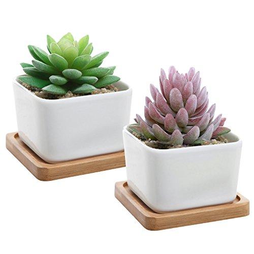 Set Of 2 Decorative Small White Square Ceramic Succulent Plant Pot W Bamboo Draining Tray - Mygift&reg