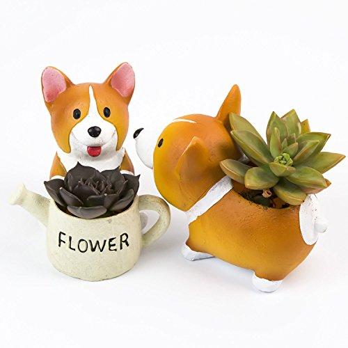 Zaray Lovely Corgi Dog Shaped Artificial Flowers Succulent Plants Pot Set Of 2
