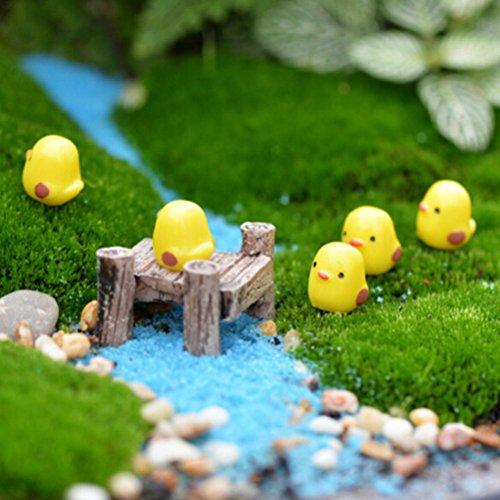 10pcs Mini Yellow Chicken Miniature Garden Ornament Micro Landscape Fairy Garden Decor