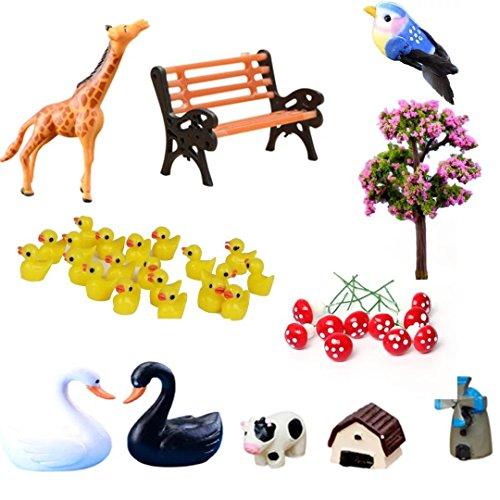 Buytra 39-Piece Miniature Fairy Garden Ornament Dollhouse Plant Pot Figurine DIY Home Decoration