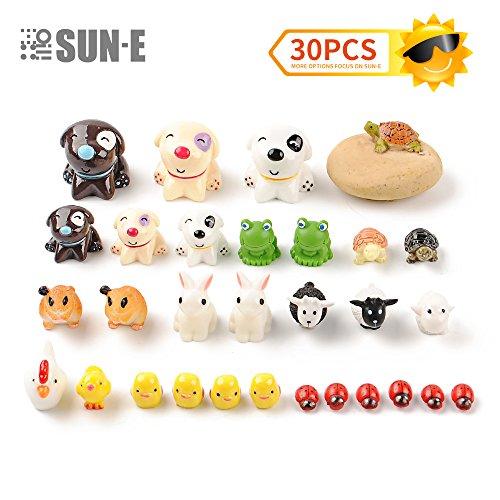 SUN-E 30Pcs Miniature Fairy Garden Ornaments Kit Set Lovey Animal theme for DIY Fairy Garden Dollhouse Decor