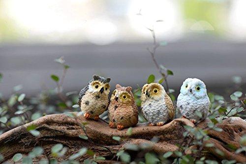 Sun-e Miniature Garden Owl Ornament Outdoor Decor 4 Pieces In Set