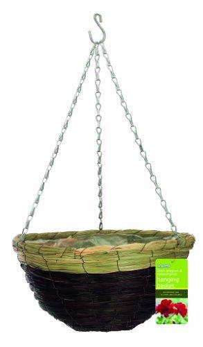 Gardman R265 Black Seagrass and Natural Grass Hanging Basket 14 Diameter