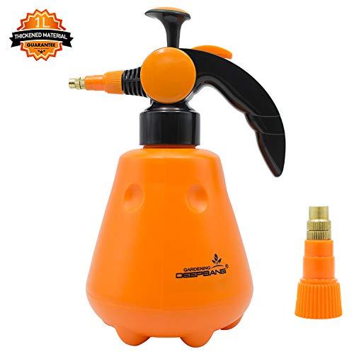 Hand held Garden Sprayer Pump Empty Water Bottle for Plant Flower Garden and Lawn Care Wash Car Clean Furniture - Yellow 1 Liter  35 oz