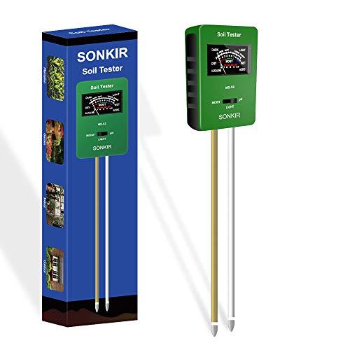 Sonkir Soil pH Meter MS-X2 Upgraded 3-in-1 Soil MoistureLightpH Tester Gardening Tool Kits for Plant Care Great for Garden Lawn Farm Green