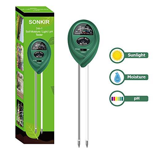 Sonkir Soil pH Meter MS01 3-in-1 Soil MoistureLightpH Tester Gardening Tool Kits for Plant Care Great for Garden Lawn Farm Indoor Outdoor Use Green