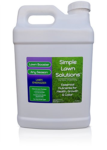Commercial Grade Lawn Energizer- Grass Micronutrient Booster wNitrogen- Natural Liquid Turf Spray Concentrated Fertilizer- Any Grass Type All Year- Simple Lawn Solutions 25 Gallons