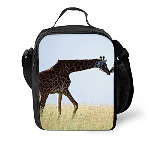 Hipster Portable Lunchbox Handbag for Men Women Adult Giraffe 聽couple Grass Care_016110