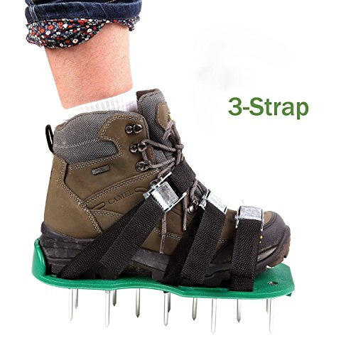 Mesinton Lawn Aerator Foot Sandals-lawn Spike Aeration Shoes-dense And Deep Spikes For Effective Soil Aeration