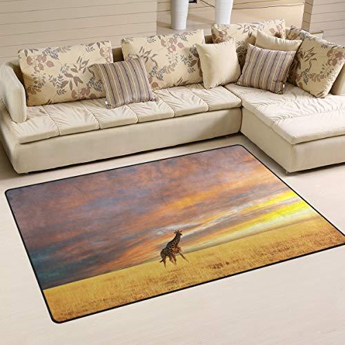 ALAZA Sunset Giraffe Grass Area Rug Rugs Non-Slip Floor Mat Doormats Living Room Bedroom 60 x 39 inches