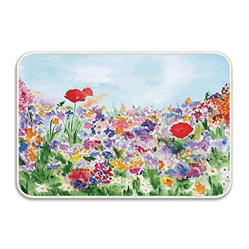 Huayuanhurug Watercolor Flower Floral Summertime Garden Grass Area Rug Bath Door Mat for Entry Way Washable Bath Mat Doormat Bedroom Carpet 16 x 24