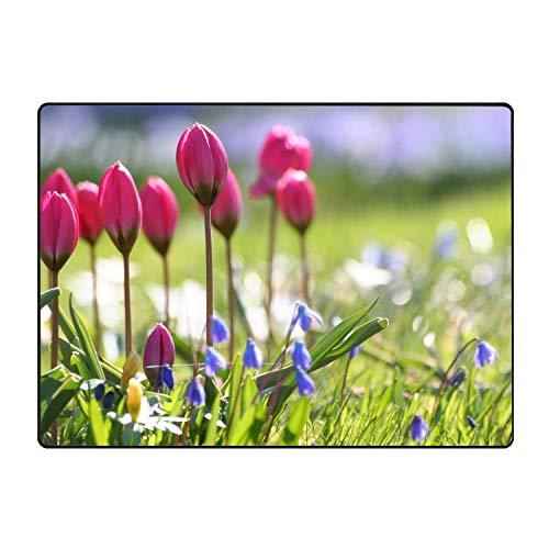 Tulips Bells Sharpness Grass Area Rug Rugs Non-Slip Indoor Outdoor Floor Mat Doormats for Home Decor 31x20